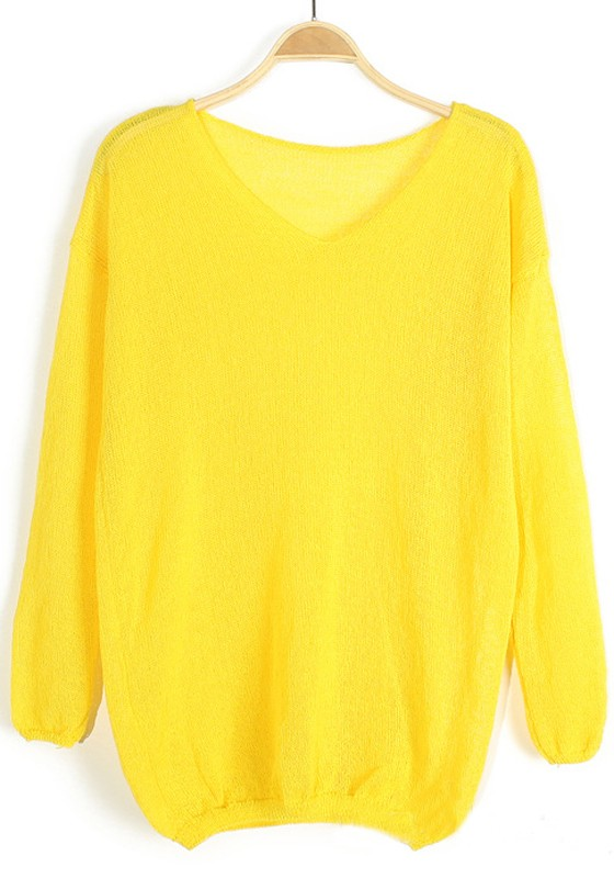 Yellow Plain V-neck Long Sleeve Cotton Pullover - Pullovers ...
