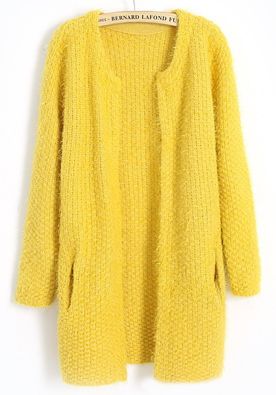 Yellow Plain Pockets No Button Wool Blend Cardigan - Cardigans ...