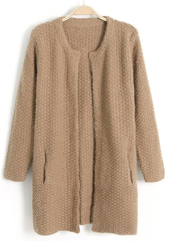 Coffee Plain Pockets No Button Wool Blend Cardigan - Cardigans ...