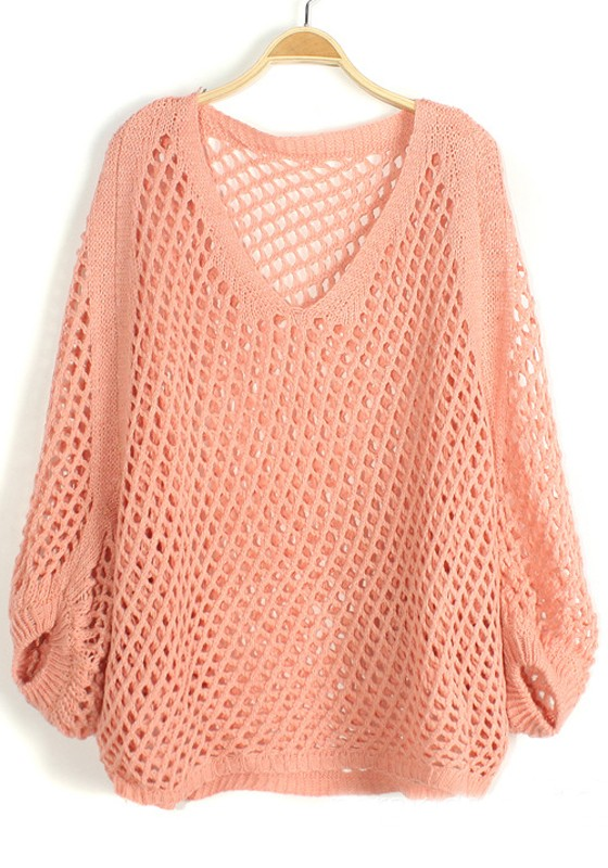 Pink Hollow-out Irregular Bat Sleeve Knit Sweater - Sweaters - Tops