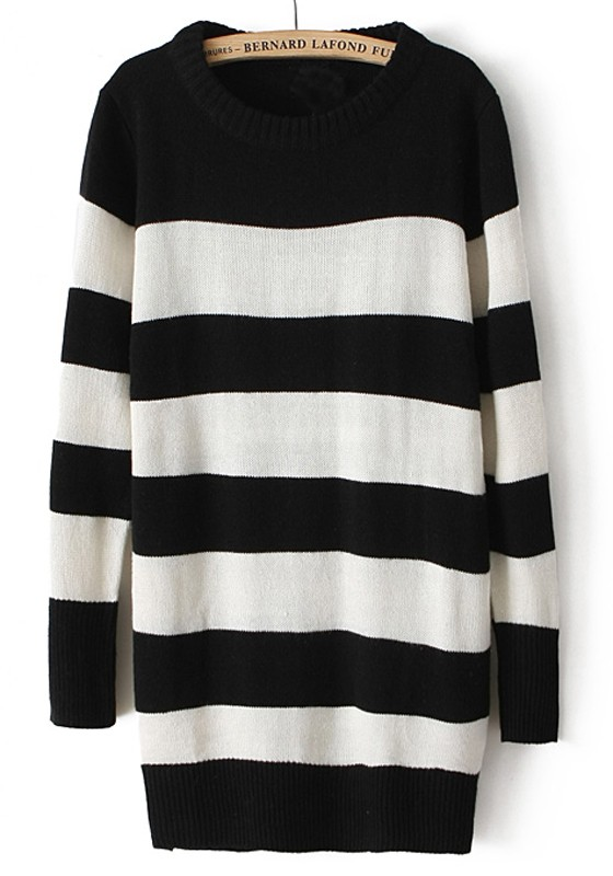 Black White Striped Round Neck Long Blend Sweater - Sweaters - Tops