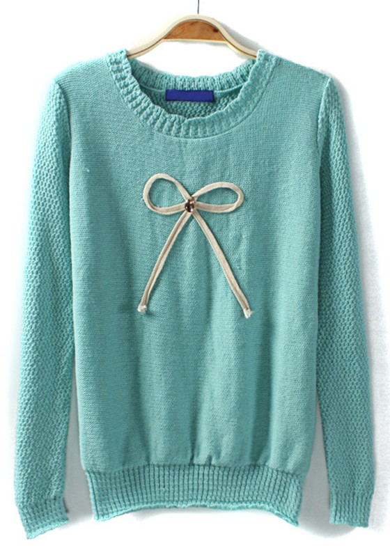 Knitting Sweaters In The Round : Blue bow rhinestone round neck knit sweater sweaters tops