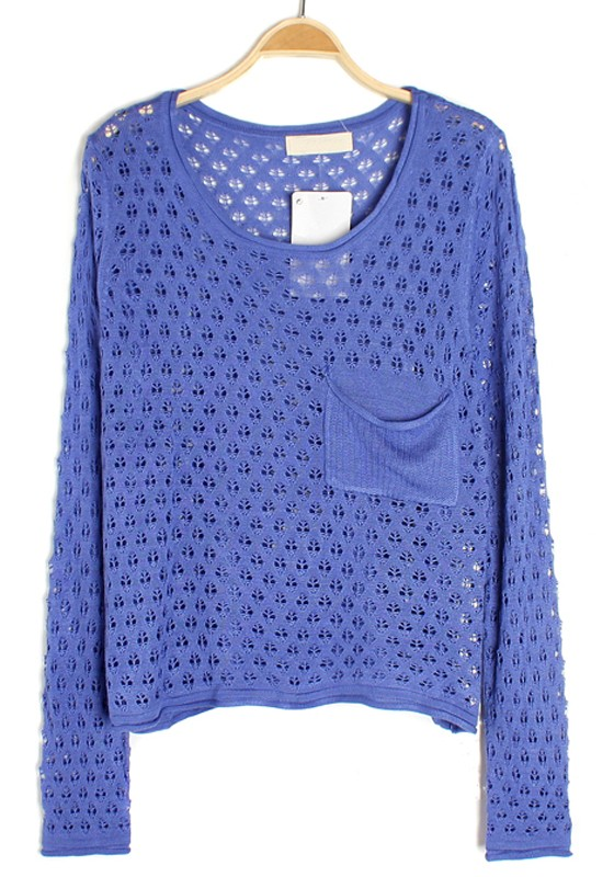 Blue Hollow-out Pockets Thin Loose Knit Sweater - Sweaters - Tops