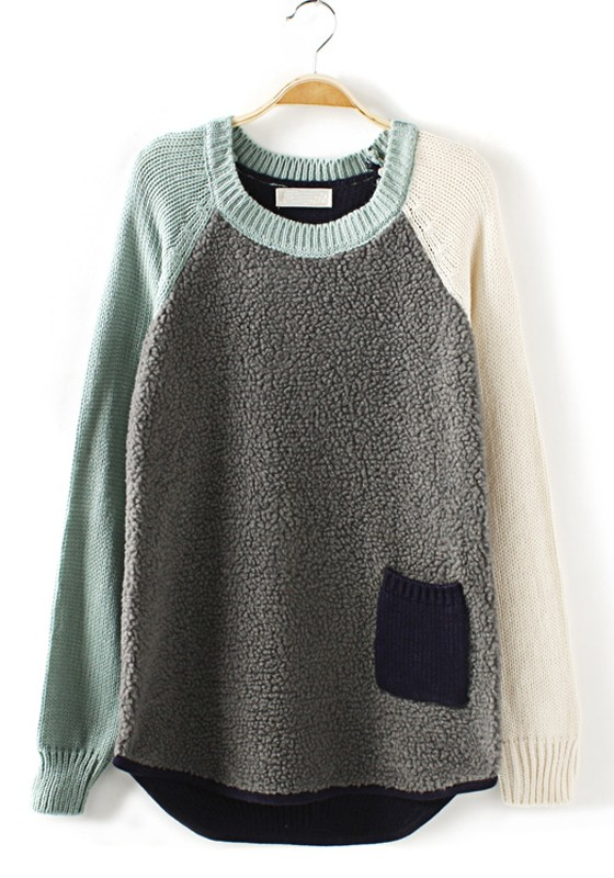 7e2089cdf09a7 Grey Patchwork Wool Long Sleeve Synthetic Fiber Pullover - Pullovers -  Sweaters - Tops