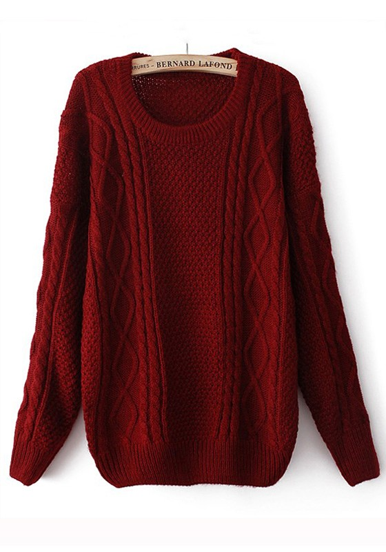 Red Round Neck Long Sleeve Wool Blend Sweater - Pullovers ...