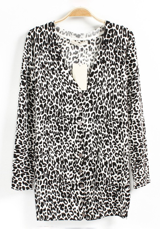 White Leopard Print V-neck Buttons Long Knit Cardigan - Cardigans ...