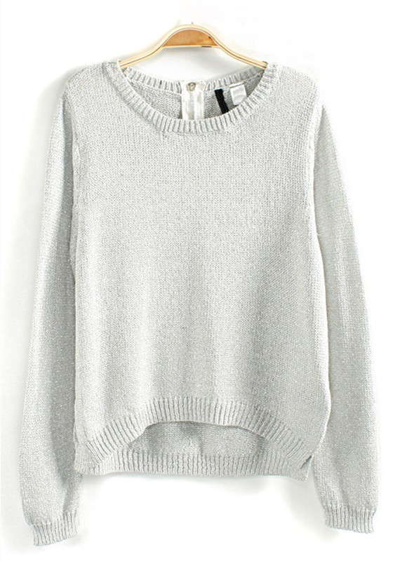 White Plain Bright Wire Loose Wool Blend Sweater - Pullovers ...