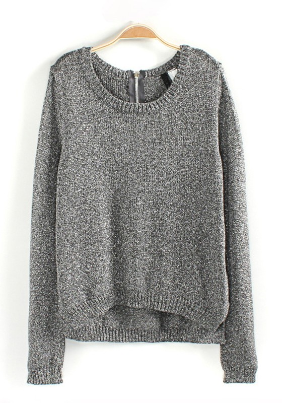 Grey Plain Bright Wire Loose Wool Blend Sweater - Pullovers ...