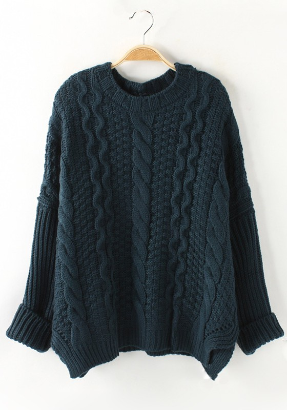 Dark Green Plaid Long Sleeve Thick Loose Knit Sweater - Sweaters ...