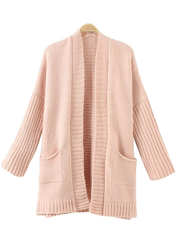 Light Pink Plain Pockets Long Sleeve Cardigan - Cardigans ...