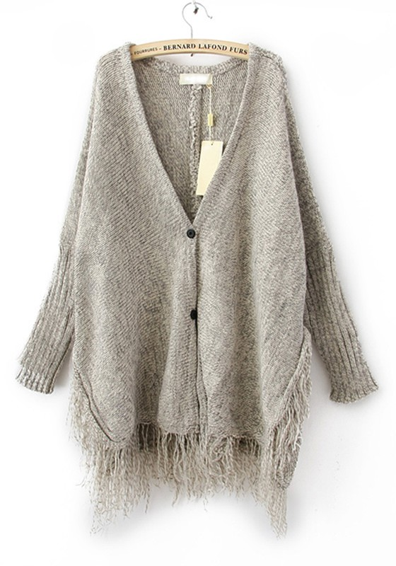 Gray Plain Tassel Batwing Sleeve Wool Blend Cardigan - Cardigans ...