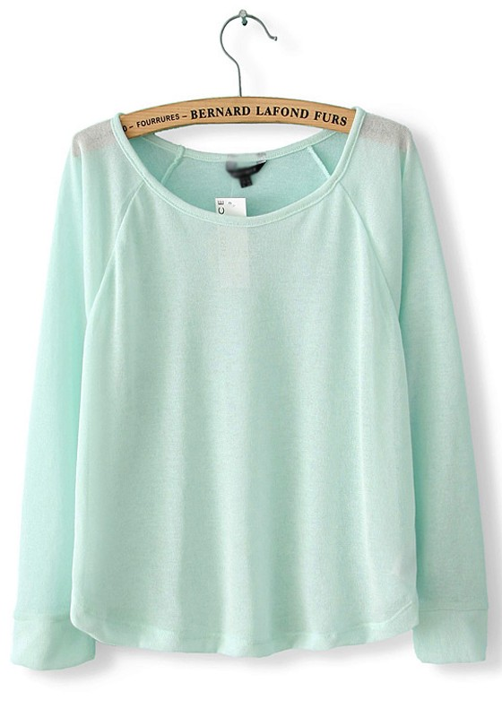 Light Blue Collarless Long Sleeve Loose Polyester Knit Sweater ...