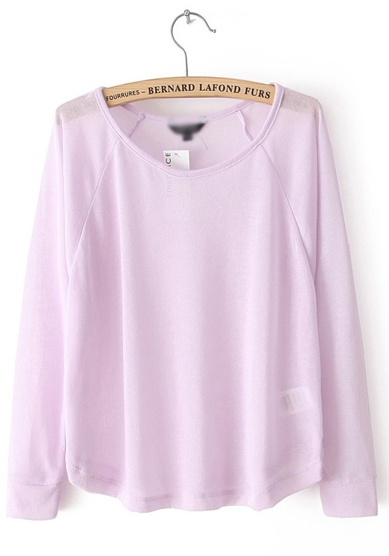Light Purple Collarless Long Sleeve Loose Polyester Knit Sweater ...