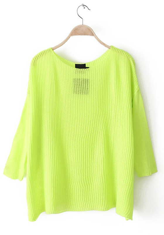 Light Green Plain Hollow-out Seven's Sleeve Polyester Knit Sweater ...