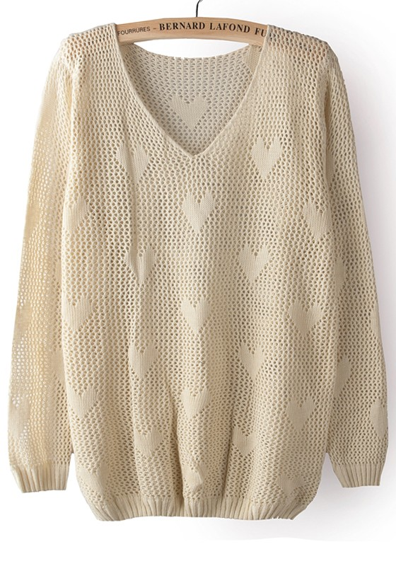 d141e92c83 Beige Hollow-out Heart V-neck Thin Knit Sweater - Sweaters - Tops