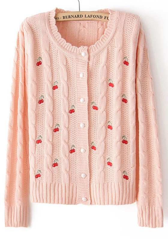 bd568ec6e Pink Cherries Embroidery Wavy Edge Cotton Blend Cardigan - Cardigans -  Sweaters - Tops
