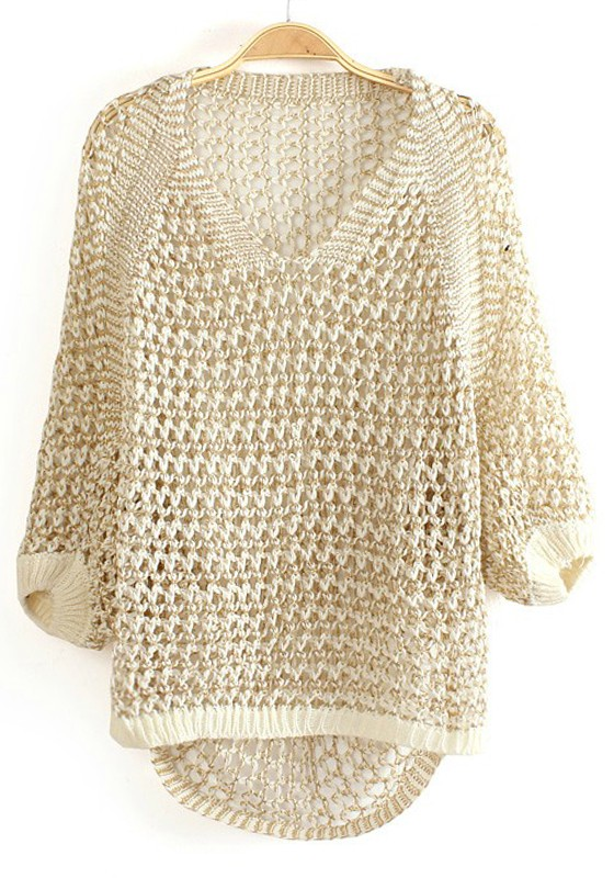 White Spun Gold Hollow-out V-neck Knit Sweater - Sweaters - Tops