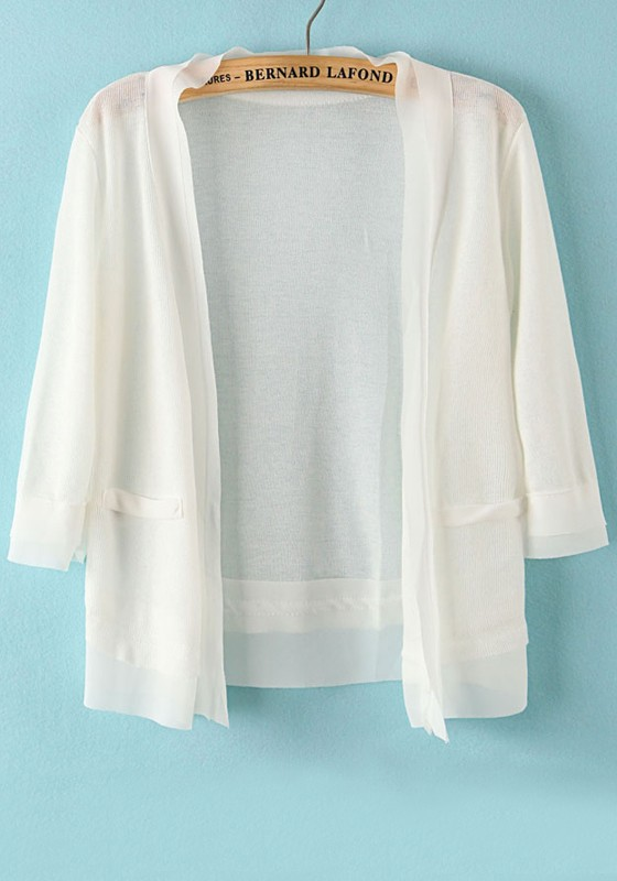 White Patchwork Short Sleeve Loose Thin Knit Cardigan - Cardigans ...
