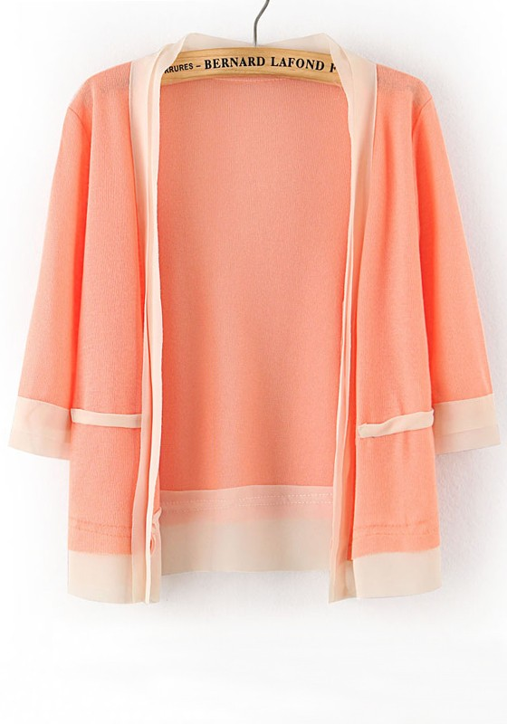 Pink Patchwork Short Sleeve Loose Thin Knit Cardigan - Cardigans ...