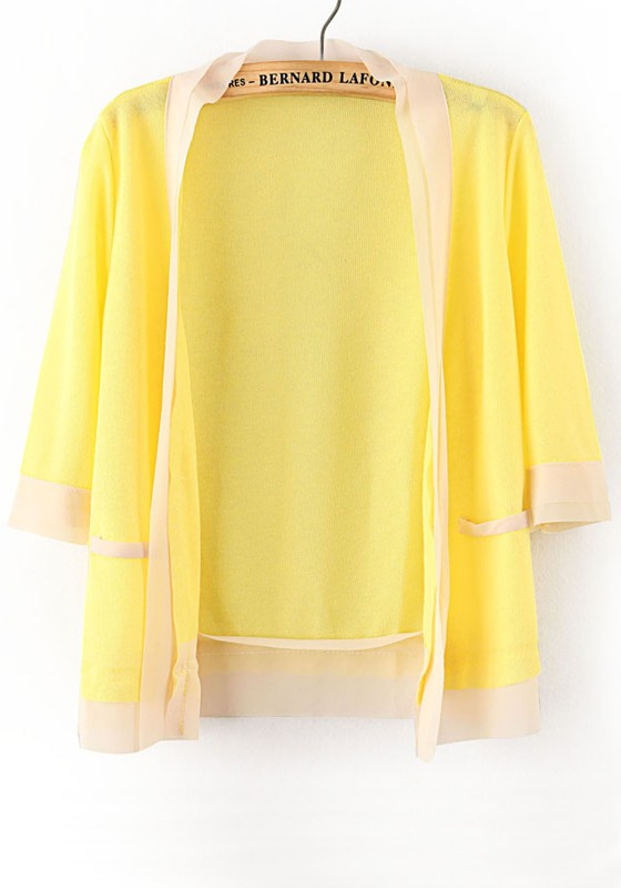 Yellow Patchwork Short Sleeve Loose Thin Knit Cardigan - Cardigans ...