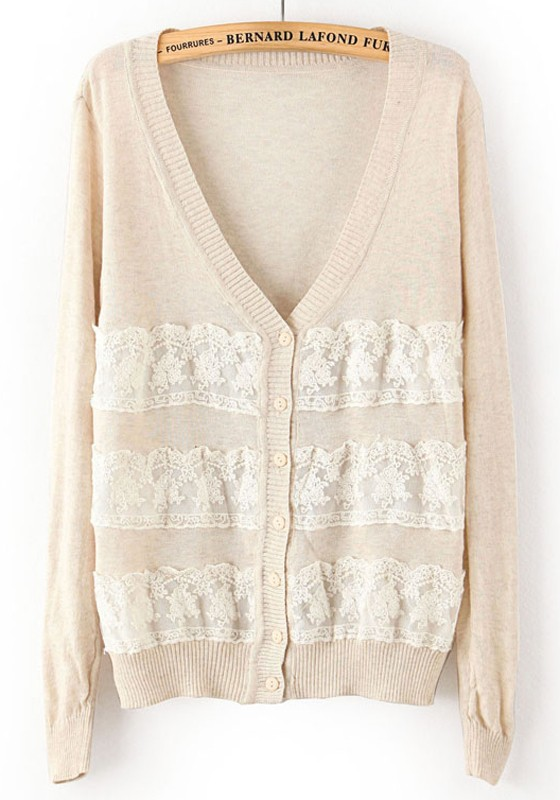 Knitting Pattern Patchwork Cardigan : Beige Patchwork Lace V-neck Loose Thin Knit Cardigan - Cardigans - Sweaters -...