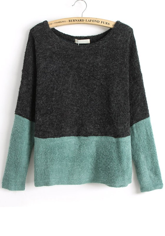Black Color Block Patchwork Collarless Loose Knit Sweater ...