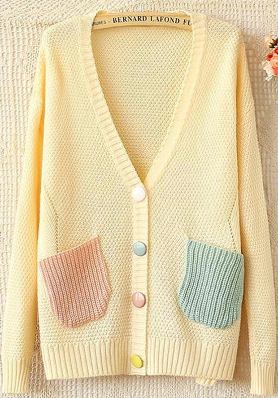 e3d2386ed76d0 Beige Patchwork V-neck Long Sleeve Loose Knit Cardigan - Cardigans -  Sweaters - Tops