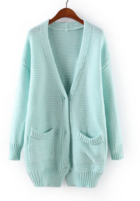 Light Blue Plain V-neck Long Sleeve Blend Cardigan - Cardigans ...