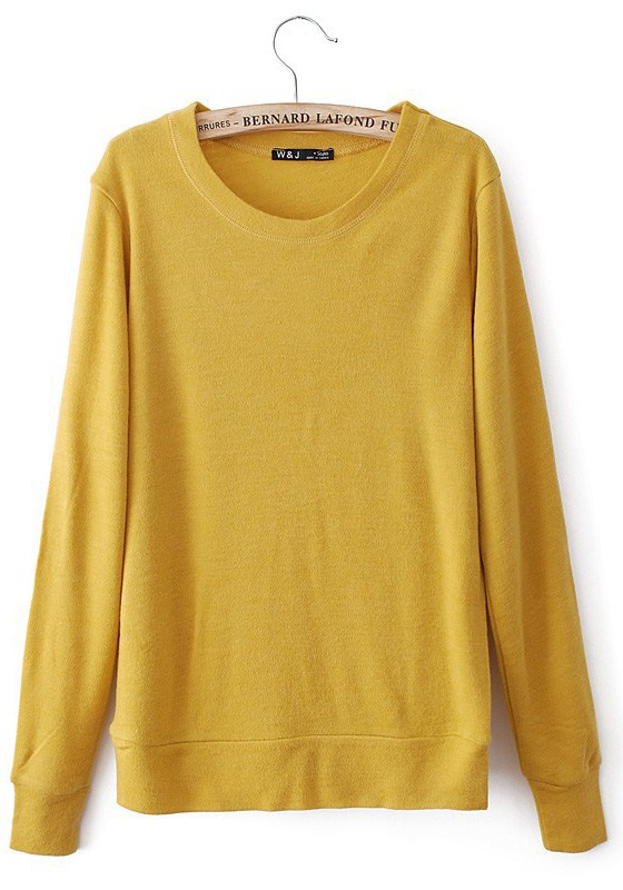 Yellow Plain Appliques Long Sleeve Sweater - Pullovers - Sweaters ...