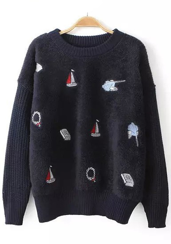Navy Blue Patchwork Sailboats Embroidery Pullover Sweater ...