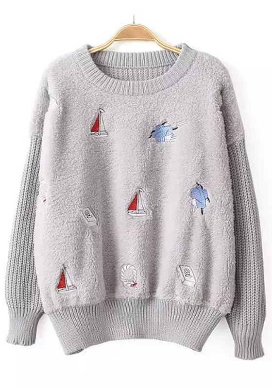 Light Grey Patchwork Sailboats Embroidery Pullover Sweater ...