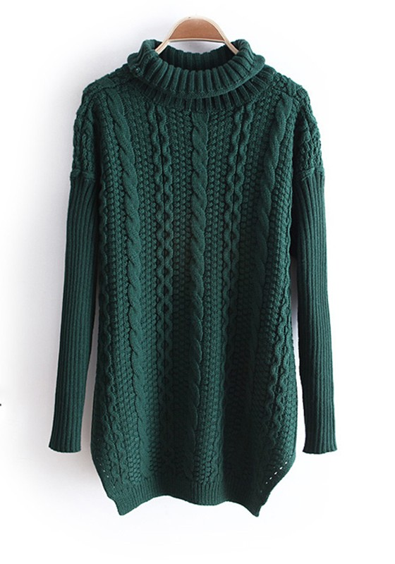 Green High Neck Long Sleeve Thick Knit Sweater - Sweaters - Tops