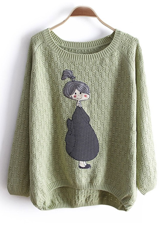 Aqua Round Neck Girl Patchwork Knitted Cotton Sweater - Sweaters - Tops