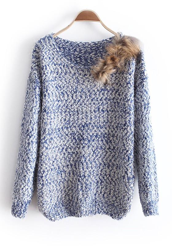 Blue Fur Round Neck Knitted Cotton Sweater - Sweaters - Tops