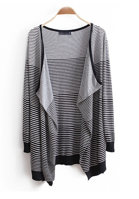 Black Striped Long Sleeve Loose Thin Cotton Cardigan - Cardigans ...
