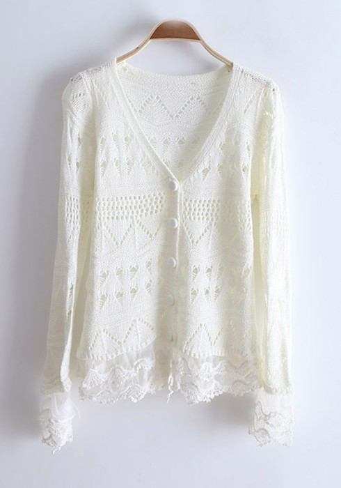 White Hollow-out Lace Flare Sleeve Knitting Cardigan - Cardigans ...