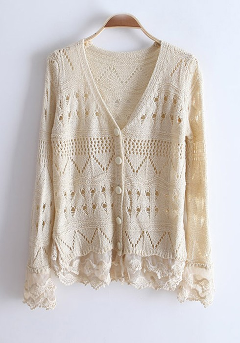 Beige Hollow-out Lace Flare Sleeve Knitting Cardigan - Cardigans ...