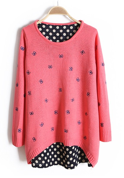 Pink Patchwork Polka Dot Bow Wrap Knit Sweater - Sweaters - Tops