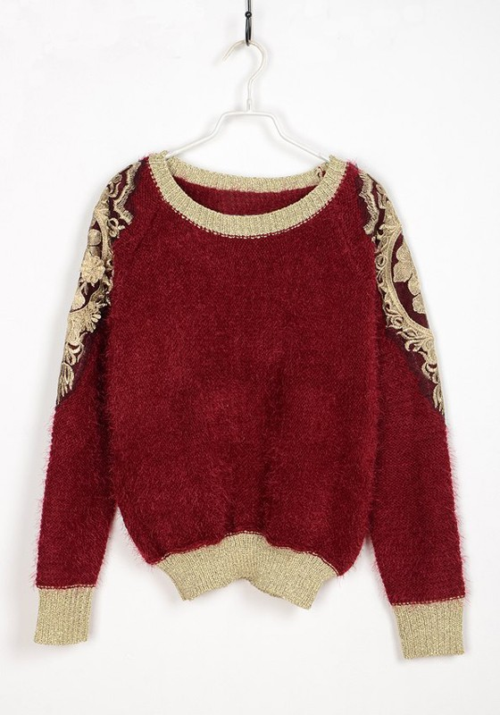 Red Gold Thread Embroidery Lace Loose Cotton Sweater - Sweaters - Tops