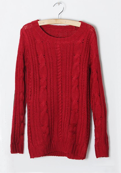 Red Striped Round Neck Straight Wool Sweater - Sweaters - Tops
