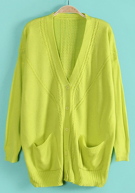 fluorescent green pockets single breasted cotton blend cardigan