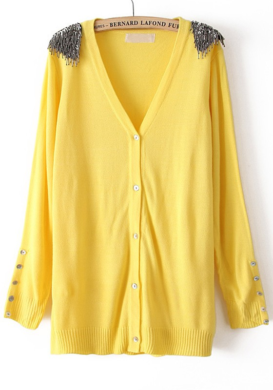 Yellow Sequin Buttons V-neck Cotton Blend Cardigan - Cardigans ...