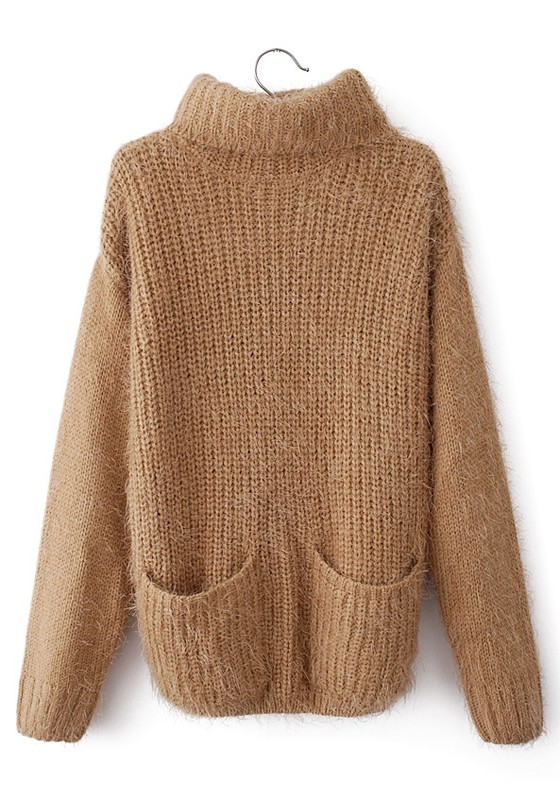 Camel Plain Pockets High Neck Loose Cotton Sweater - Sweaters - Tops