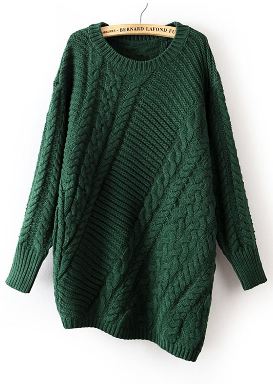 Dark Green Plain Irregular Round Neck Cotton Sweater - Sweaters - Tops