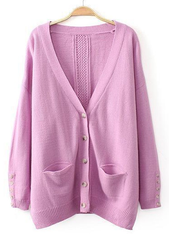 Light Purple Plain Pockets Long Sleeve Cardigan - Cardigans ...