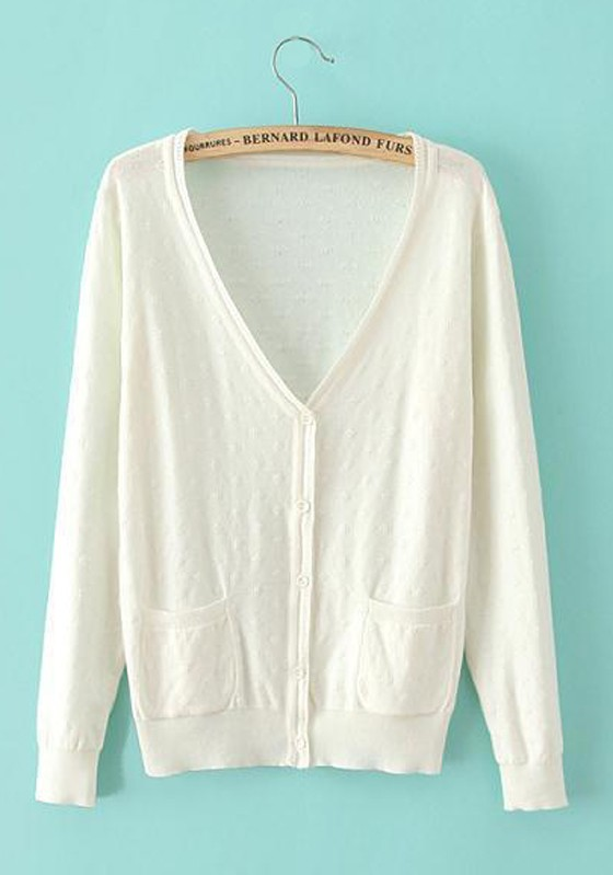 White Plain Pockets Long Sleeve Cardigan - Cardigans - Sweaters - Tops
