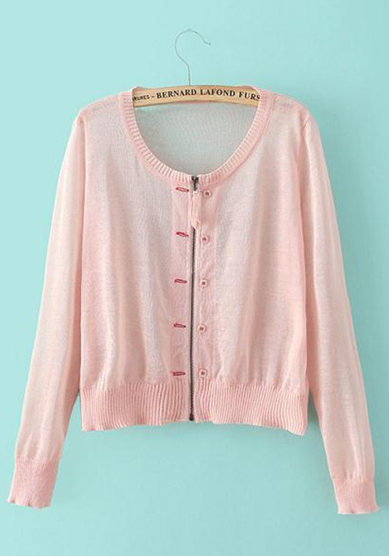 Light Pink Plain Zipper Long Sleeve Cardigan - Cardigans ...