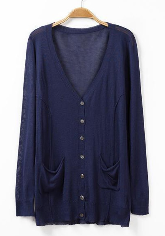Navy Blue Plain Pockets Long Sleeve Cardigan - Cardigans ...