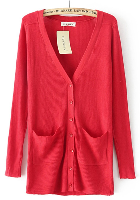 Bright Red Plain Pockets Long Sleeve Cardigan - Cardigans ...