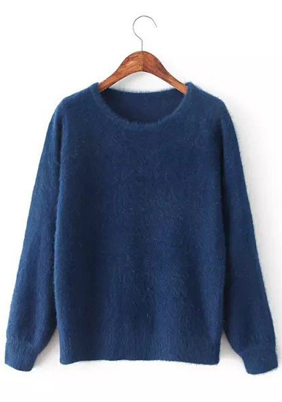 Navy Blue Plain Long Sleeve Sweater - Pullovers - Sweaters - Tops
